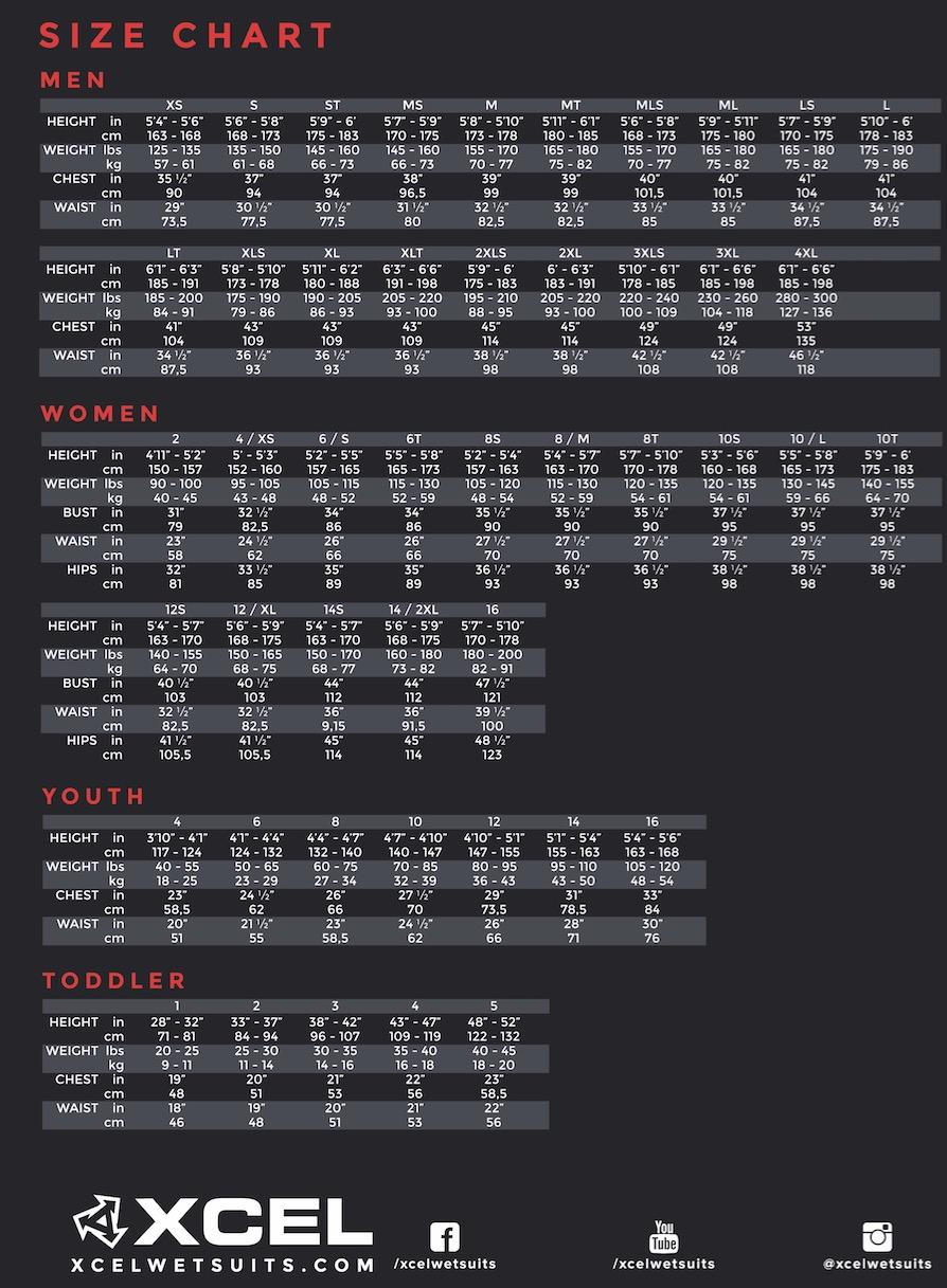 Excel Size Chart / Xcel Größentabelle